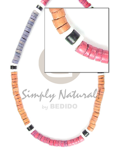 4-5 mm coco heishe blue orange red Coco Necklace