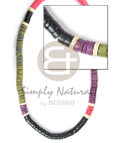 hand made 4-5mm coco heishe black khaki grn red Coco Necklace