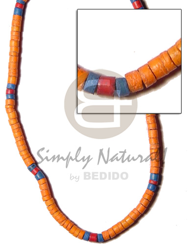 4-5mm coco heishe mango orange turq Coco Necklace