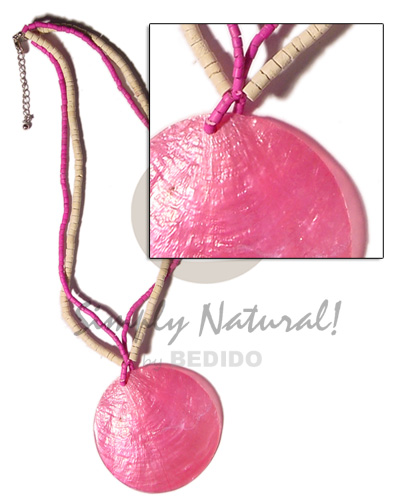 50mm pink capiz shell pendant Coco Necklace