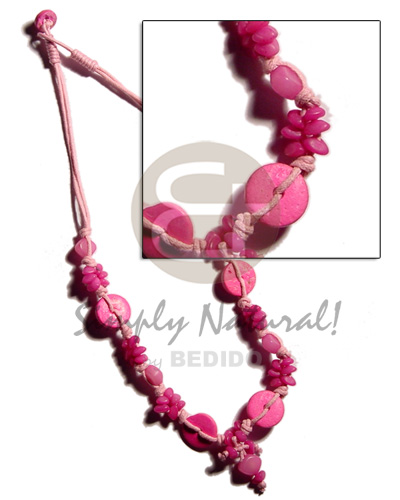 Pink buri seeds and coco Coco Necklace