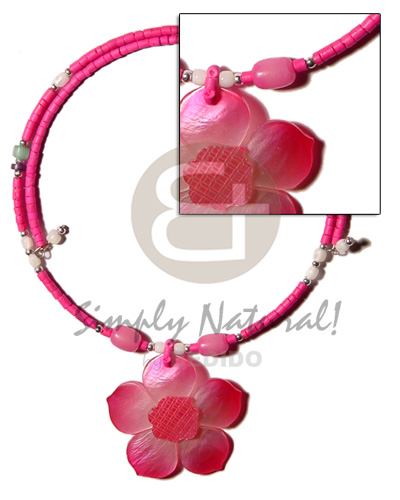 Pink 2-3mm coco heishe wire Coco Necklace