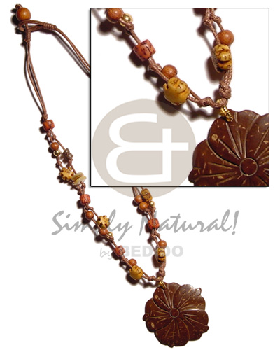 hand made 2 layer knotted brown cord Coco Necklace