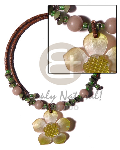 2-3mm reddish brown coco heishe Coco Necklace