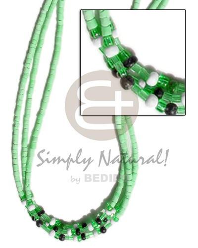 3 rows pastel green coco Coco Necklace