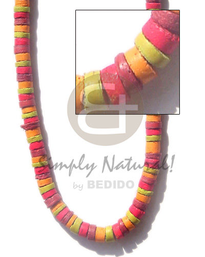 hand made 7-8 coco heishe lime Coco Necklace