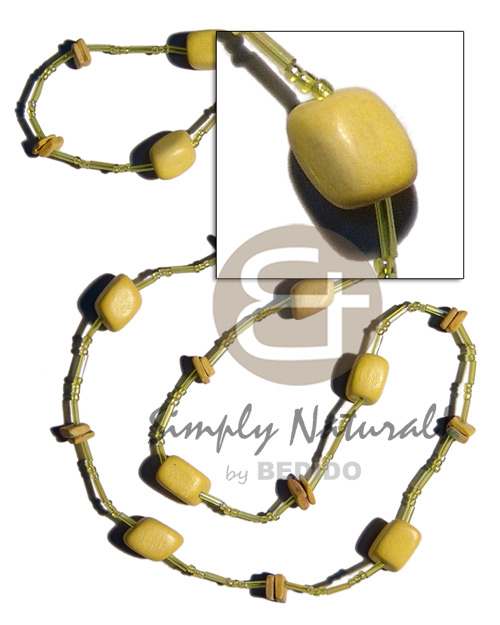 Yellow wood beads coco square Coco Necklace