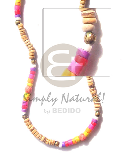 4-5mm tiger pukalet in heishe Coco Necklace