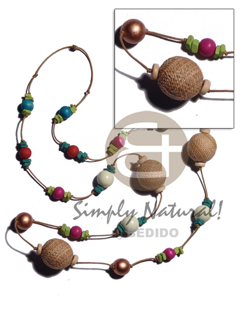 hand made 25mm abaca wrapped wood beads Coco Necklace