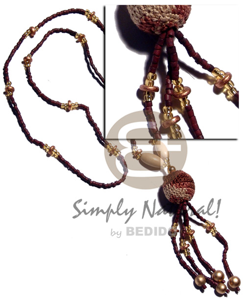 2-3mm coco heishe in reddish Coco Necklace