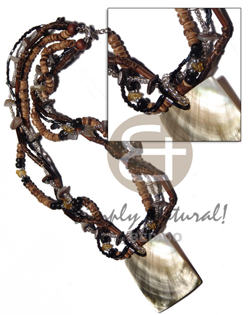 4 layers intertwined cut beads 4-5mm Coco Necklace