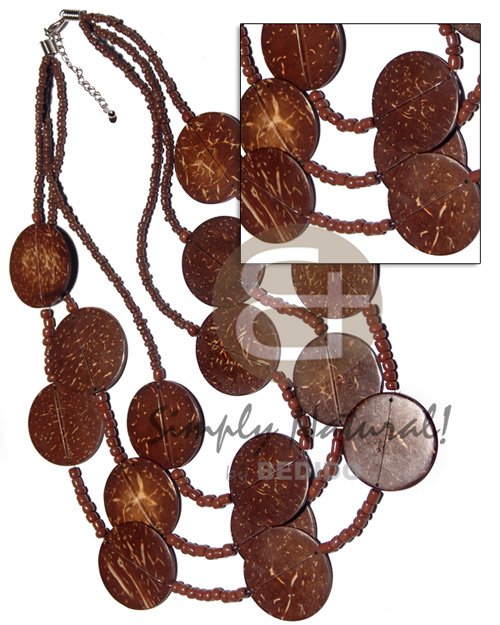 3 graduated layers 16in 17 in 18in brown Coco Necklace
