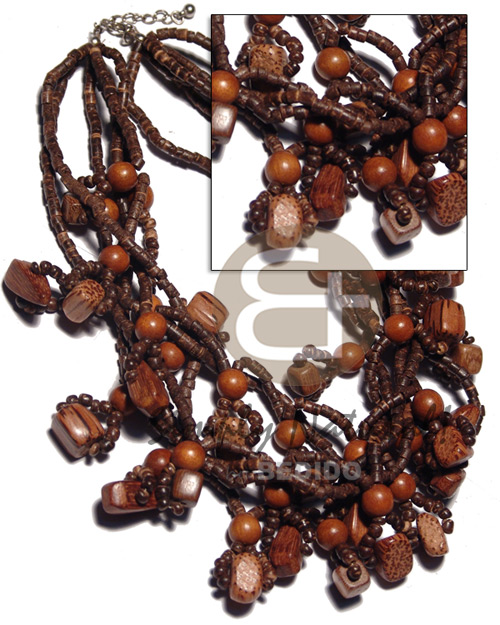 6 rows 2-3mm natural brown Coco Necklace