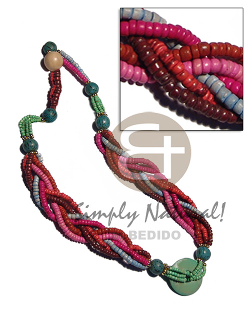 6 rows braided 4-5mm multicolored Coco Necklace