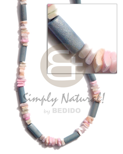 hand made Pastel blue wood tube Coco Necklace