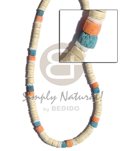 8mm coco heishe bleached Coco Necklace