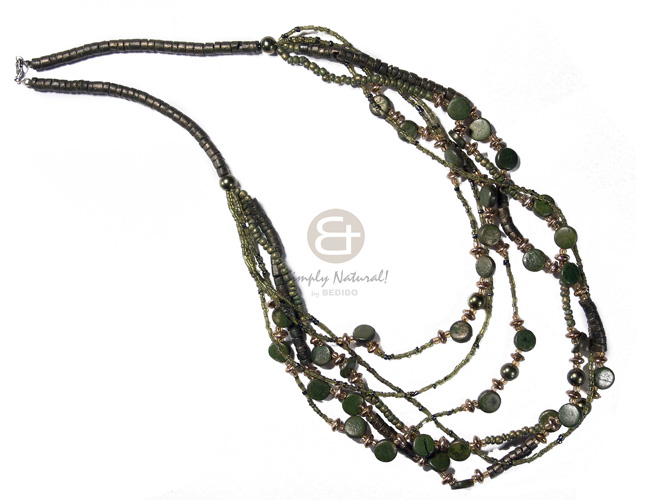 6 graduated layers 4-5mm coco heishe, 2-3mm coco Pokalet . 1omm coco sidedrill  cut beads accent / gold and metallic olive green tones  / 20in/22in/24in/25in/26in/28in - Coco Necklace