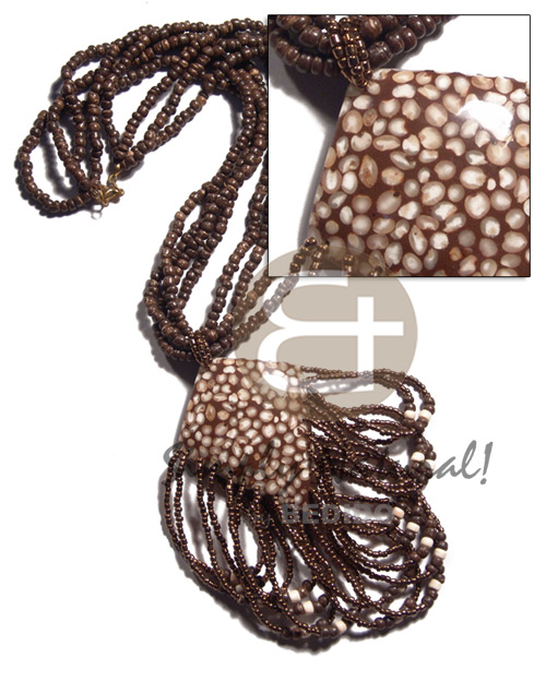 4 layers 4-5mm coco Pokalet na. brown  dangling laminated white mongo shells  brown resin and coco backing, metallic brown beads accent / 18in plus 2 in. dangling loops - Coco Necklace