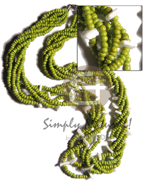 Lime green twisted 6 rows Coco Necklace