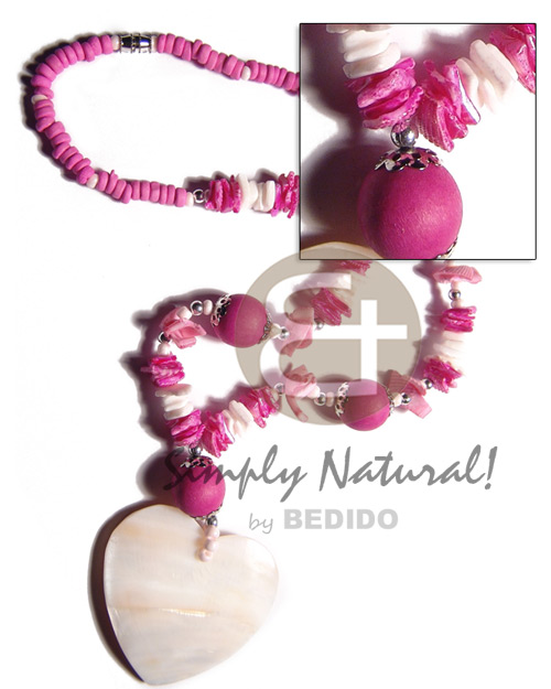 hand made 4-5mm bright pink coco pokalet Coco Necklace