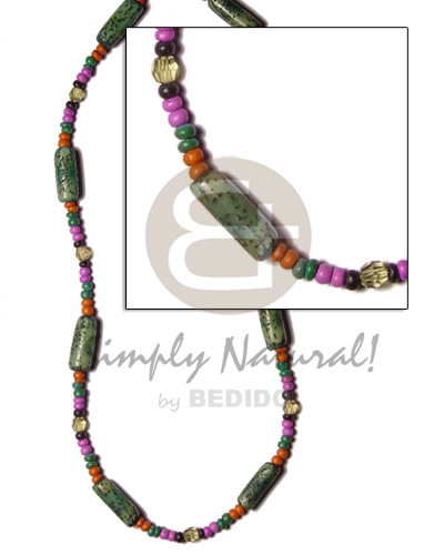 hand made 2-3mm coco pokalet orange lavender green Coco Necklace