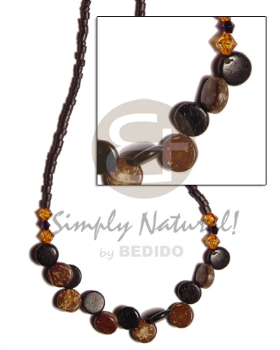 hand made 2-3 black coco heishe Coco Necklace