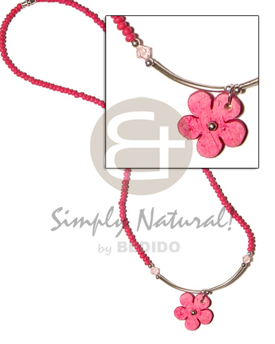 hand made 2-3mm fuschia pink coco pokalet Coco Necklace
