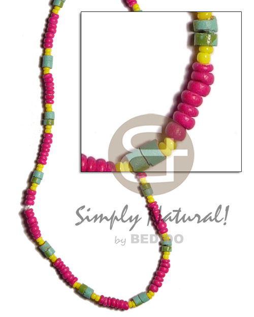 Fuschia pink yellow 2-3mm coco Coco Necklace