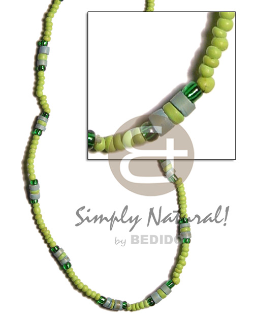 2-3mm neon green 4-5mm Coco Necklace