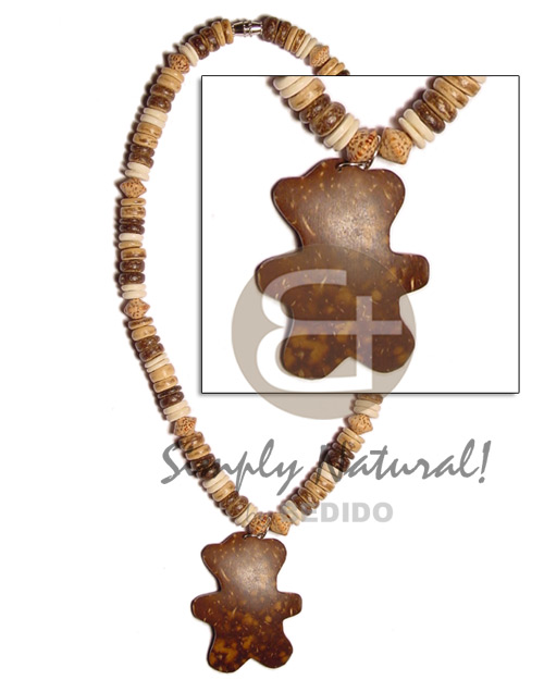 7-8mm coco Pokalet tiger/brown/bleach & palmwood saucer  coco teddy bear pendant - Coco Necklace