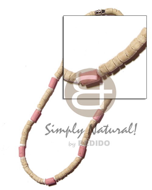 Pink wood tube 4-5 Coco Necklace