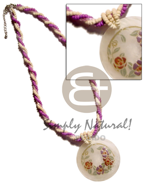 Twisted 2-3mm coco pokalet. lavender bleach cut Coco Necklace