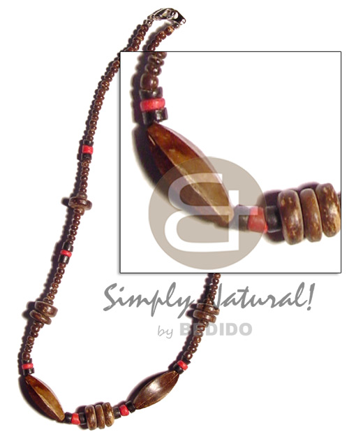 2-3mm coco pokalet. natural brown.red Coco Necklace