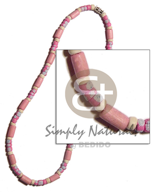 Pink wood tube 4-5mm Coco Necklace