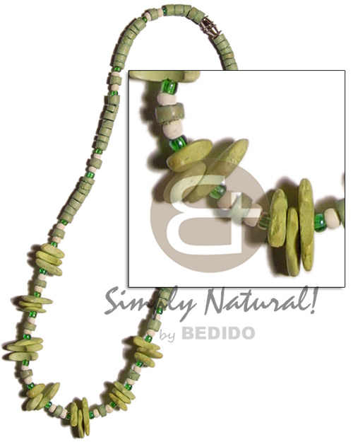 Lime green 4-5mm coco heishe Coco Necklace