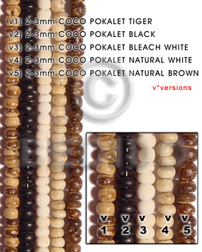 hand made 2-3mm coco pokalet natural white Coco Pokalet Beads