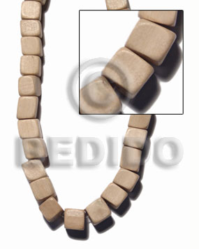 """nat. white wood"" slide cube 12mmx12mm / 33 pcs. per 16 in. str. - Dice & Sided Wood Beads"