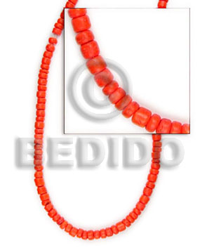 hand made 4-5 mm red orange coco Dyed colored Coco beads
