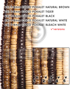 7-8mm coco pokalet black Dyed colored Coco beads