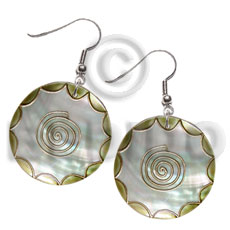 Dangling 35mm round kabibe shell Embossed Art Deco Earrings
