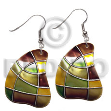 Dangling handpainted and colored round Embossed Art Deco Earrings