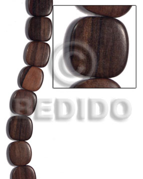 25mmx25mmx5mm square  round edges camagong tiger face to face / 16 pcs. - Flat Square Wood Beads