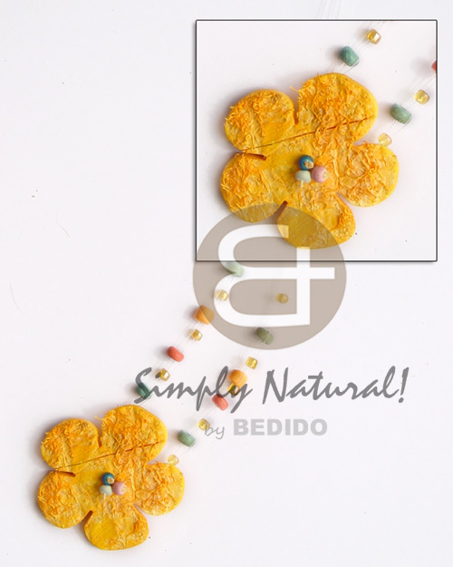 hand made Floating yellow coco flower 40mm Floating Necklace