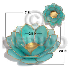 Colored capiz lotus aqua blue Gifts & Home Table Decor Set