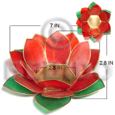 Colored lotus red green combination capiz Gifts & Home Table Decor Set