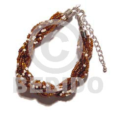 12 rows brown white twisted glass Glass Beads Bracelets