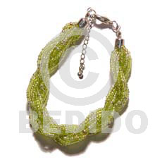 12 rows lime green twisted Glass Beads Bracelets