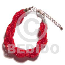 12 rows red twisted glass Glass Beads Bracelets