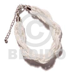 12 rows white twisted glass Glass Beads Bracelets
