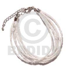 6 rows white clear multi layered Glass Beads Bracelets